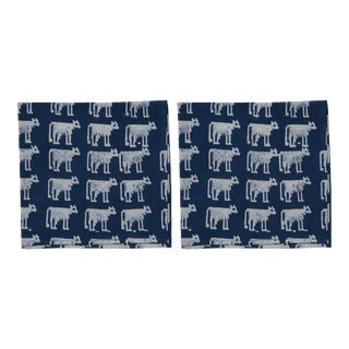 Countryside Cattle Napkins, Indigo - A Pair For Sale