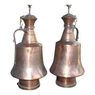 Turkish Copper Water Seller's Jug Lamps - A Pair For Sale