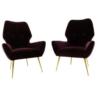 Pair of Italian 'Aubergine' Velvet Armchairs With Brass Feet, 1950s For Sale