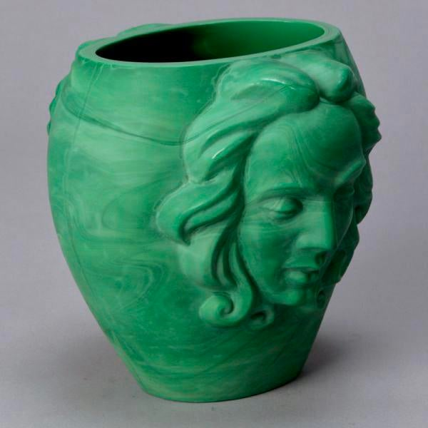 1930s Art Deco Era Bohemian Malachite Glass Vase with Faces For Sale - Image 5 of 6