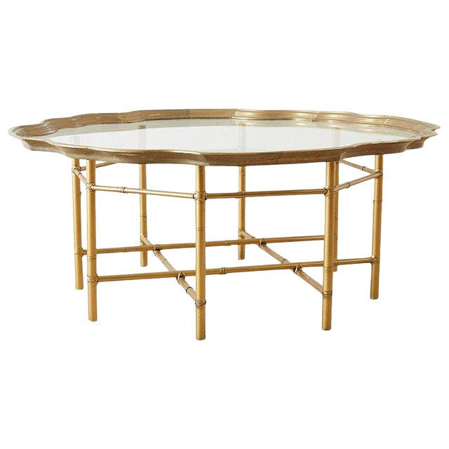 Baker Brass and Glass Tray Top Coffee Cocktail Table For Sale