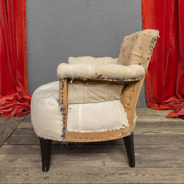 Pair of Small French Art Deco Style Tufted Armchairs For Sale - Image 5 of 10