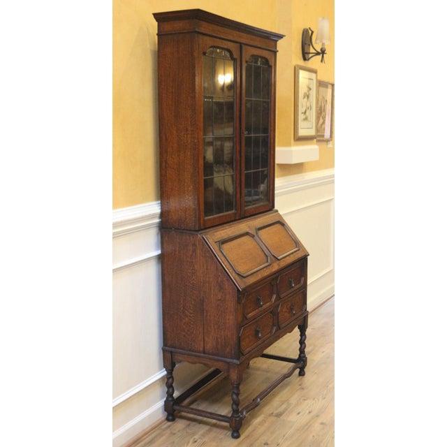 1910s Jacobean Oak Bureau Bookcase For Sale In Raleigh - Image 6 of 13