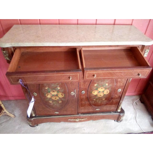 1960s 1960 French Server With Painted Floral Motif For Sale - Image 5 of 11