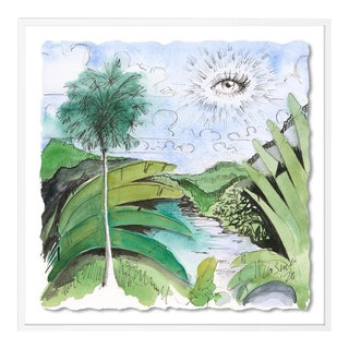 Green Jungle with Eye by Lia Burke Libaire in White Frame, Small Art Print For Sale
