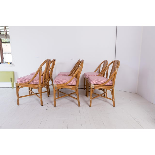 Farmhouse 1960s Vintage McGuire Furniture Rattan Dining Chairs- Set of 6 For Sale - Image 3 of 13