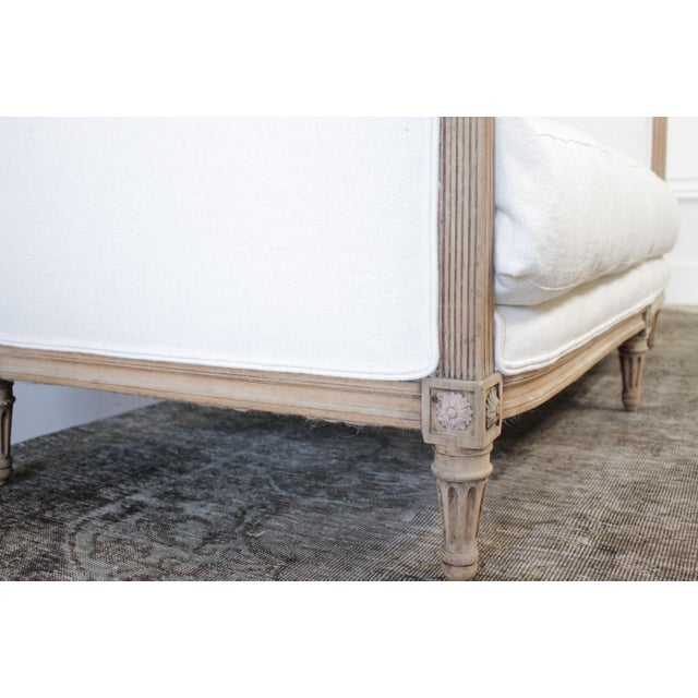 1900 - 1909 Antique Louis XVI Sofa Bleached Oak and Natural Linen For Sale - Image 5 of 12