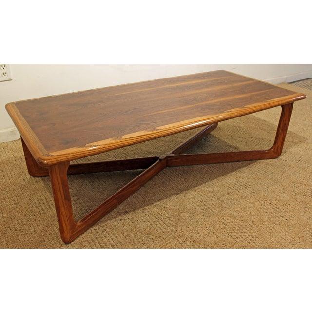 Mid-Century Danish Modern Lane Perception Oak Walnut X-Base Coffee Table #1 Offered is a nice Mid-Century Danish Modern...