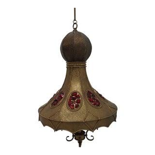 Vintage Spanish Regency Brass Jeweled Hanging Lamp Chandelier For Sale