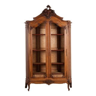 French, 19th Century Louis XV Style Walnut Display Armoire For Sale