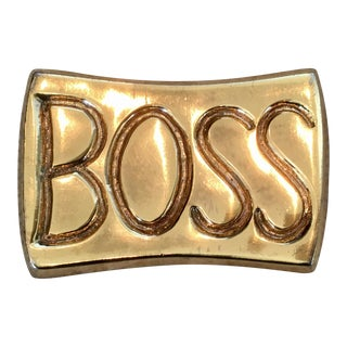"Vintage Mid-Century Modern ""Boss"" Brass Paperweight For Sale"