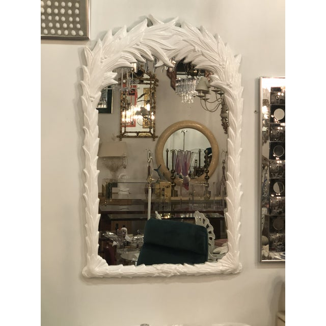 Vintage White Lacquered Palm Frond Wall Mirror For Sale - Image 11 of 11