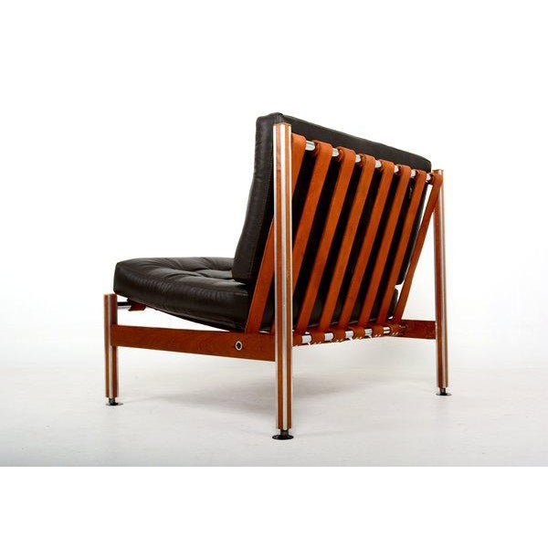 Mexican Pair of Mid Century Mexican Modernist Lounge Chairs Barcelona For Sale - Image 3 of 5