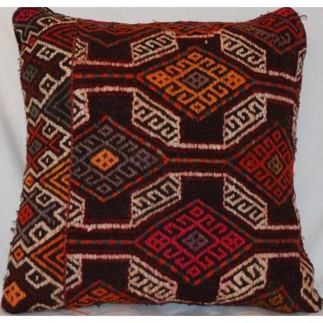 Boho Chic Vintage Handmade Boho Chic Wool Kilim Pillow For Sale - Image 3 of 5