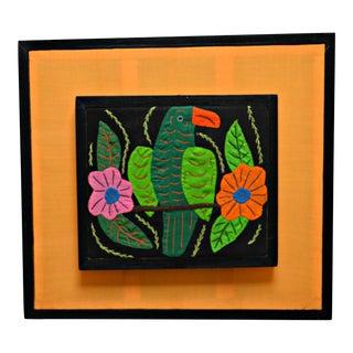 Framed Parrot & Flowers Motif Mola
