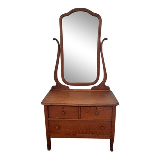Antique Primative Early American Oak Dresser With Mirror For Sale