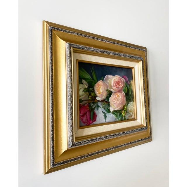 2020s Oil Painting of Garden Roses - Framed For Sale - Image 5 of 10