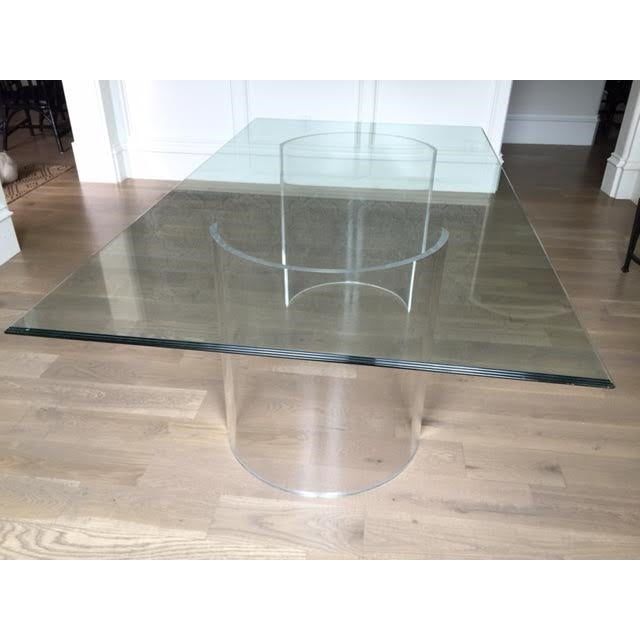 Modern Vintage Lucite Base Dining Table For Sale - Image 3 of 10