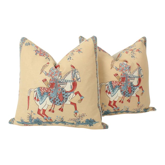 Chinoiserie Linen Emperor Pillows 22x22 Square, a Pair For Sale