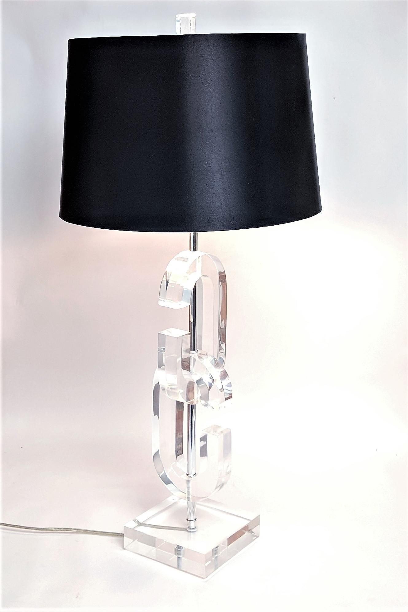 Lucite Cc Table Lamps In The Manner Of Chanel A Pair Chairish