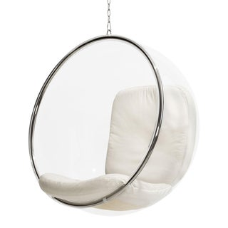 Eero Aarnio Original Hanging Bubble Chair White Leather Cushion For Sale