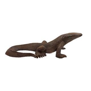 Vintage Hand Carved Giant Lizard or Komodo Dragan For Sale