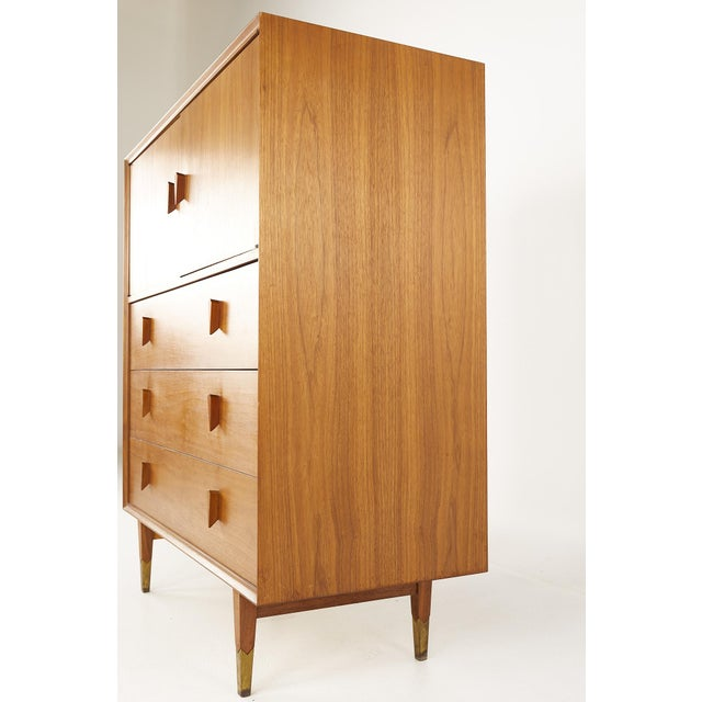 Mid 20th Century Albert Parvin Style Mid Century Walnut Highboy Dresser For Sale - Image 5 of 12