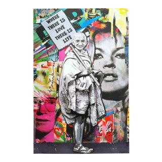 """Mr. Brainwash """" Gandhi Where There Is Love There Is Life """" Authentic Lithograph Print Pop Art Poster For Sale"""