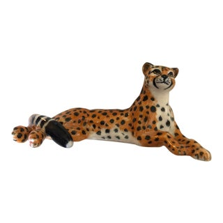 Cheetah Porcelain Lamp Finial For Sale
