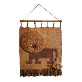 Don Freedman Woven Fiber Afro Lion Wall Hanging Art For Sale