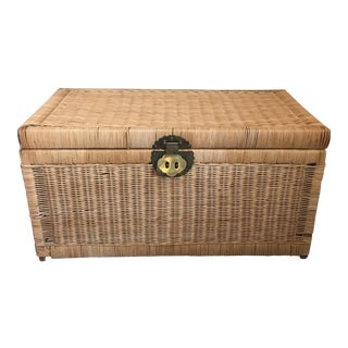 Vintage Wicker Rattan Brass Handle Trunk
