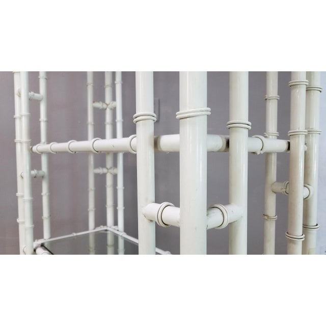 1950s Hollywood Regency White Metal Pagoda Faux Bamboo Etagere For Sale - Image 10 of 13