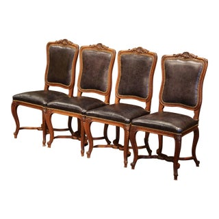19th Century French Louis XV Carved Walnut Chairs With Leather, Set of Four For Sale
