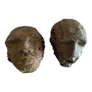 1980s Hand Carved African Wooden Heads - a Pair For Sale