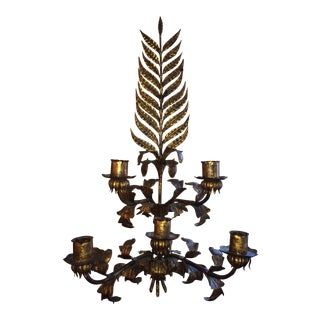 Huge Gilded Hollywood Regency Iron Wall Sconce For Sale