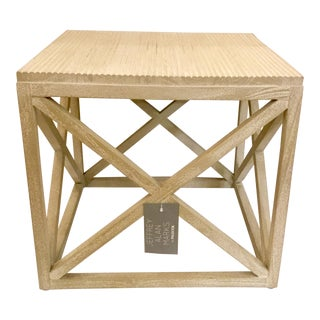 Jeffry Alan Marks for Palecek Gunn Square Reeded Top Side Table For Sale