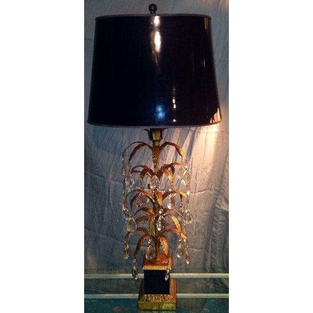 Hollywood Regency Vintage Italian Tole & Glass Prism Lamps - A Pair For Sale - Image 3 of 5