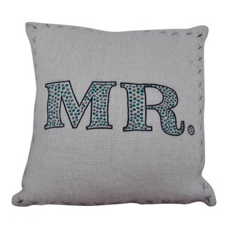 """Embroidered """"Mr."""" Throw Pillow"""