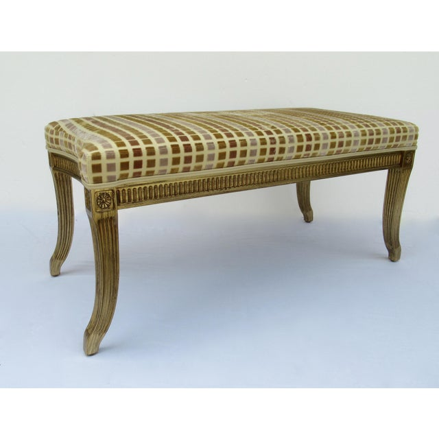 Interior Crafts Gilt French Empire Style Interior Crafts Bench For Sale - Image 4 of 13