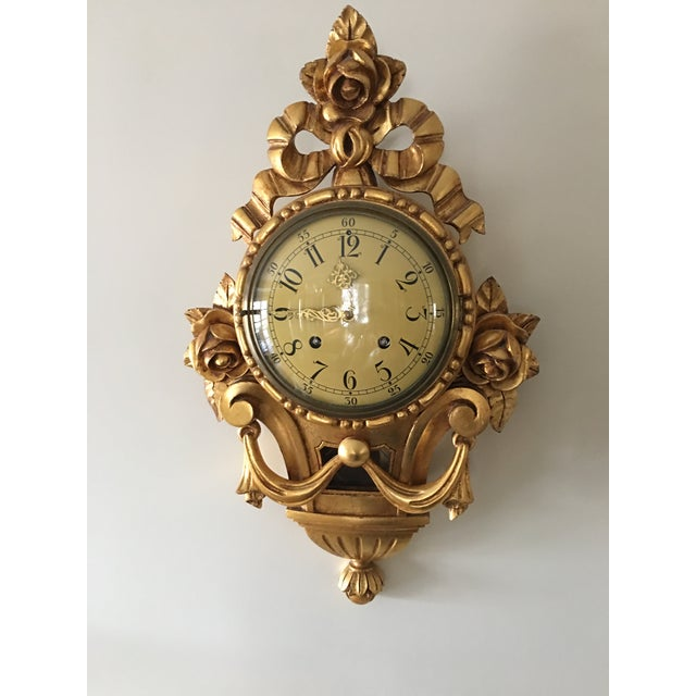Wood 19th Century Craved Gold Leaf Wall Clock For Sale - Image 7 of 7