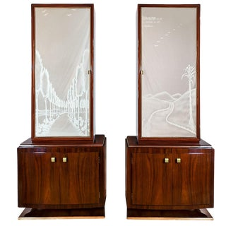 1930s Pair of Art Deco Two Blocks Cabinets, Mahogany, Etched Mirrors, Italy For Sale
