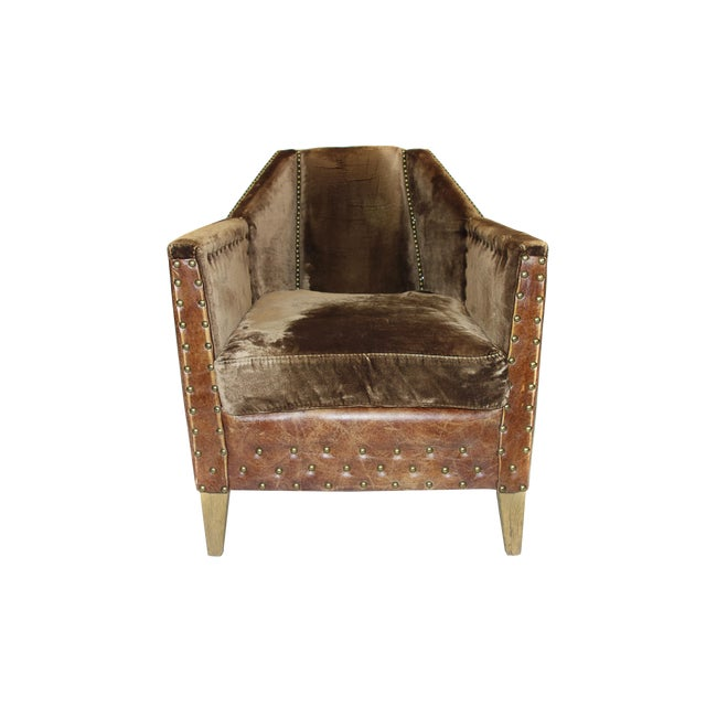 Modern Rustic Leather & Velvet Club Chair - Image 1 of 3