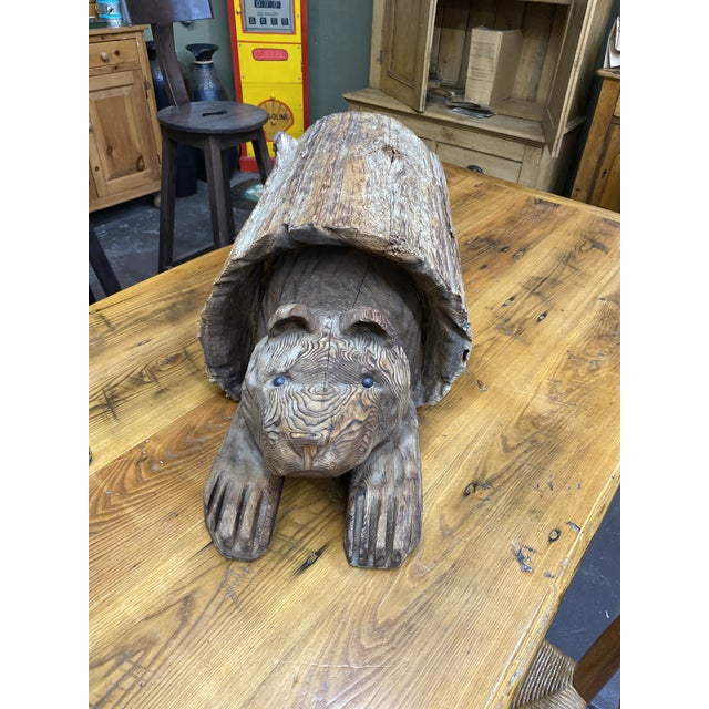 Vintage Wood Carving of Cub Bear Coming Out of a Log For Sale - Image 9 of 9