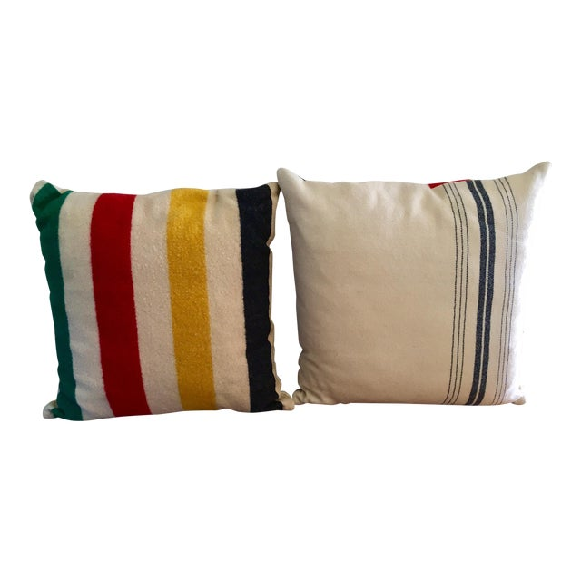 Vintage Authentic Hudson Bay Point Pillows - A Pair - Image 1 of 5