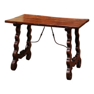 18th Century Spanish Carved Walnut Side Table With Wrought Iron Stretcher For Sale