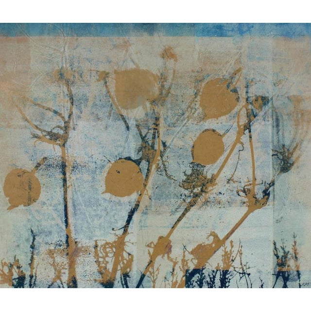 "This late 20th century monotype on paper botanical abstract with leaves and grass entitled ""Frost"" is by Santa Fe artist..."