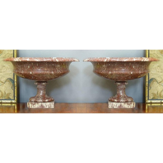 19th Century Turned Rossa Verona Marble Tazzas - A Pair For Sale In Miami - Image 6 of 7