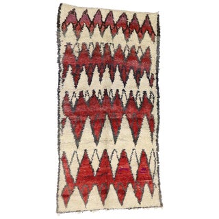Vintage Berber Tribal Moroccan Berber Carpet - 5'11 X 11'6