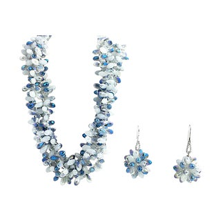 Faceted Blue Crystal Necklace & Earrings For Sale