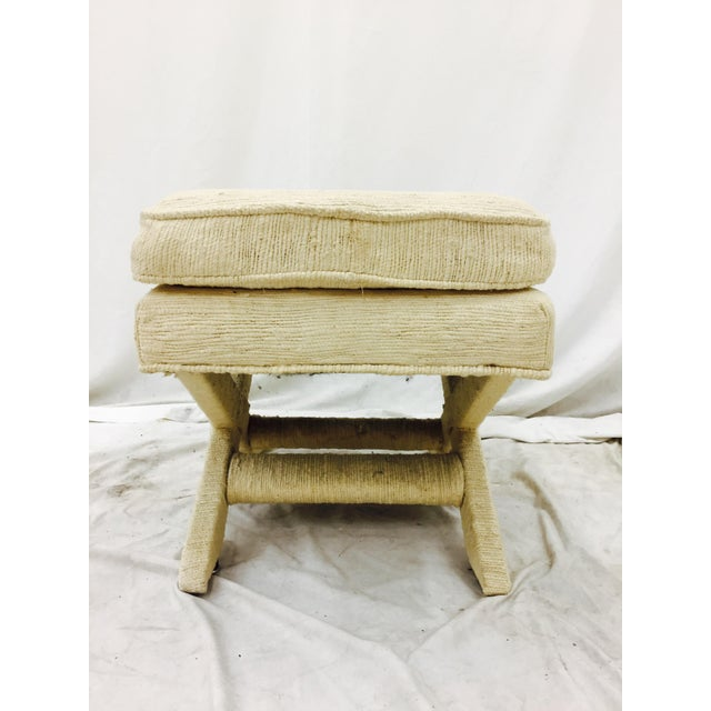 Vintage Corded Detail 'X' Bench For Sale In Raleigh - Image 6 of 8